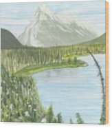 Rundle From Banff Wood Print