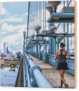 Running The Bridge Wood Print