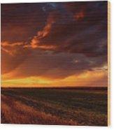 Rural Sunset Beauty Wood Print