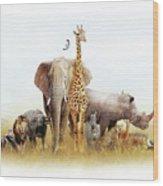 Safari Animals In Africa Composite Wood Print