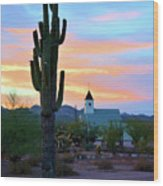 Saguaro Cactus And Church Wood Print