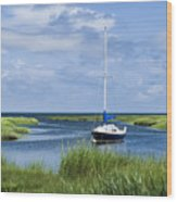 Sailboat Salt Marsh Wood Print