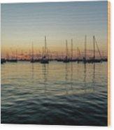 Sailboats At Sunrise  Wood Print