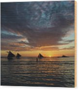 Sailing Boats At Sunset Boracay Tropical Island Philippines Wood Print