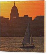Sailing - Lake Monona - Madison - Wisconsin Wood Print