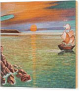Sailing Ship And Castle Wood Print