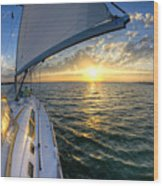 Sailing Sunset Charleston Sc Beneteau 49 Wood Print
