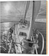 Sailing Yacht Fate Beneteau 49 Black And White Wood Print