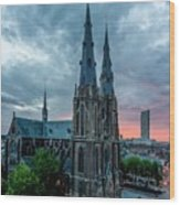 Saint Catherina Church In Eindhoven Wood Print by Semmick Photo