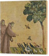 Saint Francis Of Assisi Preaching To The Birds Wood Print