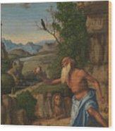 Saint Jerome In A Landscape Wood Print