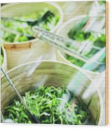 Salad Bar Buffet Fresh Mixed Lettuce Display Wood Print