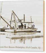 Salvage Barge, Delaware River, Philadelphia, C.1900 Wood Print