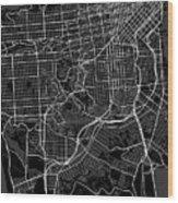San Francisco California Usa Dark Map Wood Print