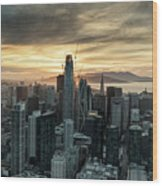 San Francisco City Skyline At Sunset Aerial Wood Print