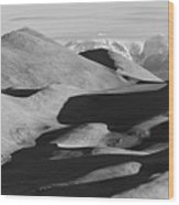 Monochrome Sand Dunes And Rocky Mountains Panorama Wood Print