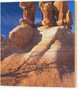 Sandstone Hoodoos In Utah Desert Wood Print by Utah Images