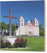 Santa Barbara Mission And Cross Wood Print