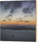 Santorini Caldera Sunset Wood Print