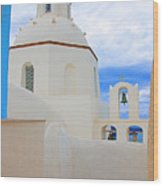 Santorini Church Dome Wood Print