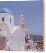 Santorini Oia Blue Domed Church Wood Print