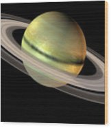 Saturn And Its Rings Wood Print