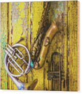 Sax French Horn And Trumpet Wood Print