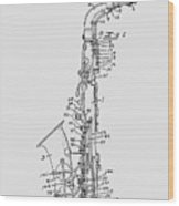Saxophone Patent Drawing From 1933 Wood Print