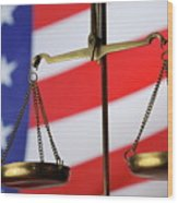 Scales Of Justice And American Flag Wood Print by Sami Sarkis