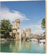 Scaligero Castle At The Entrence Of The Sirmione Medieval Town Wood Print