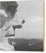 Scaling Mount Rushmore Wood Print