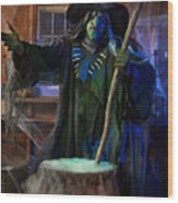 Scary Old Witch With A Cauldron Wood Print