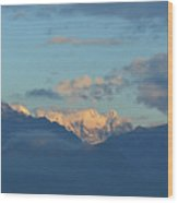 Scenic Ladscape Of Northern Italy Of The Snow Capped Alps  Wood Print