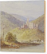 Schloss Stolzenfels From The Banks Of The Lahn Wood Print