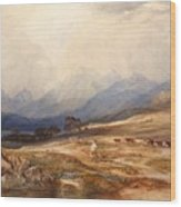 Scottish Landscape With Drover And Cattle Wood Print