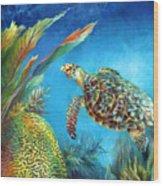 Sea Escape Iv - Hawksbill Turtle Flying Free Wood Print