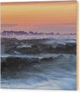 Sea Storm At Sunset Wood Print