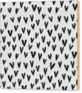Seamless Pattern With Hand Drawn Hearts.  Wood Print