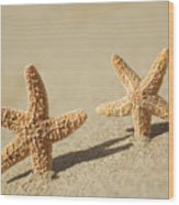 Seastars On Beach Wood Print