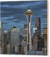 Seattle Night Wood Print