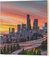 Seattle On Firer Wood Print