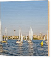 Seattle Sailboat Race Wood Print