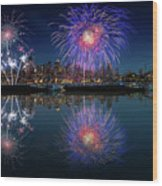Seattle Skyline And Fireworks Wood Print