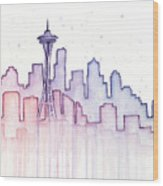 Seattle Skyline Watercolor Wood Print