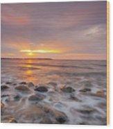 Seawall Sunrise Wood Print