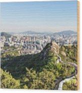 Seoul City Wall From Inwangsan Mountain In South Korea Capital C Wood Print