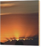 Setting Sun Peaking Out From Storm Clouds In Saskatchewan Wood Print