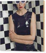Sexy Woman In Latex Bath Wood Print