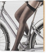 Sexy Woman Riding A Bike Wood Print by Oleksiy Maksymenko