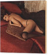 Sexy Young Woman Lying On A Bed Wood Print